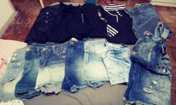 Lote 12 peças com shorts, macaquinho Jeans, calças
