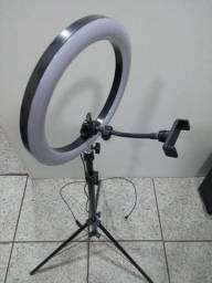 Ring Light Portátil iluminador led USB Tripé de 1,80