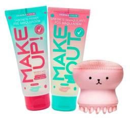 Kit Facial Sabonete Pré E Pós Maquiagem +esponja Polvo