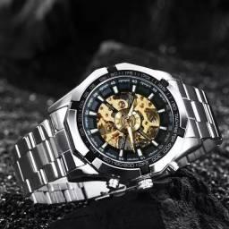 Relógio automático, relógio dourado masculino