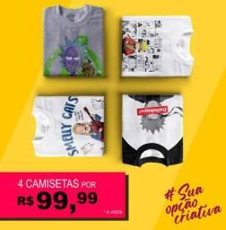 4 camisetas, você escolhe a estampa (Promoção)