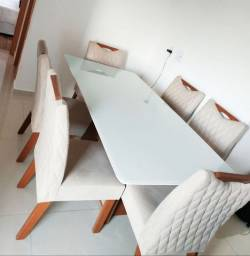 Conjunto Sala de Jantar Mesa 6 Cadeiras Grécia Premium Siena Móveis