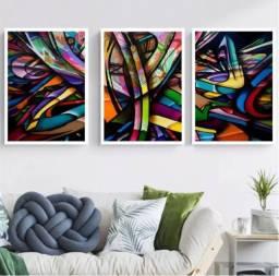 Quadro Decorativo Abstrato 3 telas cores colorido 3
