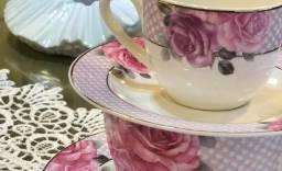Jogo de Jantar Purple Flowers Porcelana Fina Wolff - 24 Peças