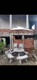 Conjunto de mesa com Guarda Sol ( removível )