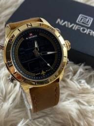 Relógio em couro - Original a prova dágua