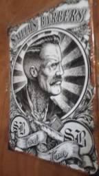 Quadro de metal barbearia. 40 x 30 x 2 cm