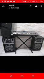 Teclado Yamaha sintetizador MM6 + Caixa Amplificada
