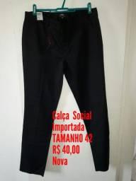 Calça Social preta IMPORTADA/ Tamanho 42/ Loja no Anil.