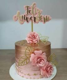 Topo de bolo flores de luxo