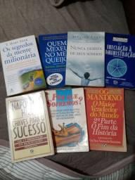 Lote de livros motivacionais.