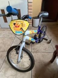 Bicicleta Infantil Rainbow Tiger - Aro 16 com Rodinhas - Azul e amarelo