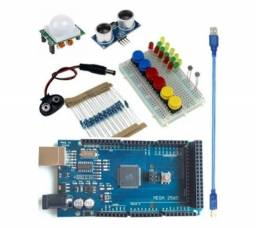 Arduino Mega Kit Com Botão Resistor Leds Protoboard Cabo Usb