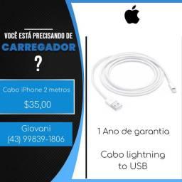 Cabo lightning iPhone 1 e 2 metros com garantia