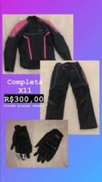 Roupa para motociclista(calça,casacoe luvas)