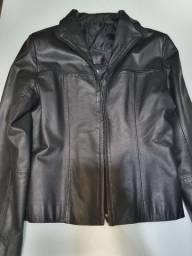 Jaqueta de couro preta tamanho P
