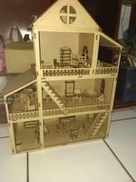 Casa de boneca Barbie de mdf