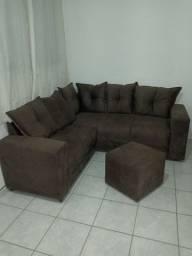 Vendo sofá de canto zero estampa em carmuça almofadas duas cores