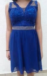 Vestido festa feminino P M azul escuro liso rendado com pérolas elegante vestido de 15