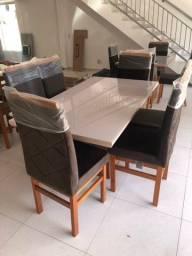 Título do anúncio: Mesa de jantar 6 lugares madeira
