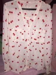 Camisa social feminina cereja