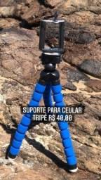 Mini Suporte Tripe De Mesa Escalavel Para Celular Gira 360º
