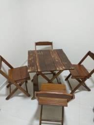 Conjunto Mesa e Cadeiras Madeira Pura