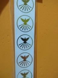 Título do anúncio: 100 Etiquetas Rótulo Adesivo Dourado Espírito Santo Pombinha Pomba da Paz