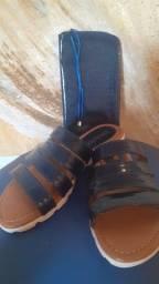 Sandália e bolsinha da Couro fino original