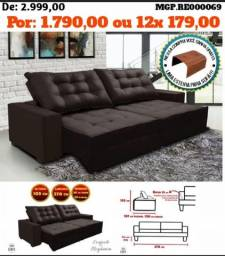 Sofa Retratil e Reclinavel 2,70 Veludo,Molas e Estofado Retratil e Reclinavel Veludo