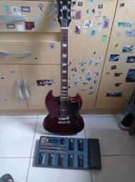 Guitarra,pedaleira e cabos