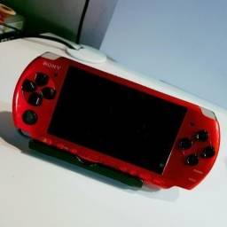 Psp vermelho completo com cartão 32gb com 50 jogos + emuladores 299,00