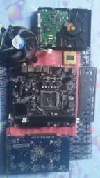 Kit de Placa mae +HD 320gb +Processador e cooler + Placa de Video 4gb