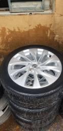 Roda aro 17 cruzes zeras sem detalhes com pneus meia vida