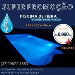 Ju - Piscina de Fibra Alpino 6 x3 *instalada* Super Promoção -Iluminação led de Brinde