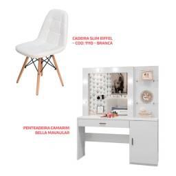 Kit ? Penteadeira Camarim Bella + Cadeira Slim Eiffel ? cod: 1110 ? Branco