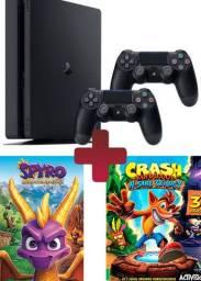 Playstation 4 Slim 1tb Com 2 Controles Spyro Crash Bandicoot Nota Fiscal Bom Estado