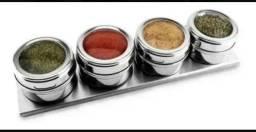 Porta Temperos Condimentos Magnético Inox c/ 4 Potes