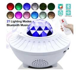 Projetor iluminação com led usb e laser bluetooth com som