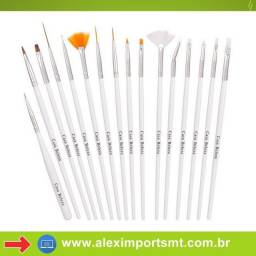 Kit De Pincel 15 Pincéis Unha Decorada Gel Acrigel Pincel