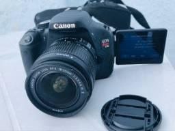 Canon T3i + lente 18-55 + caixa + acessórios
