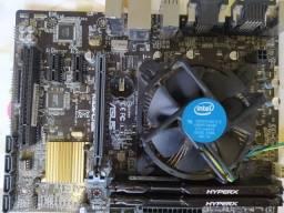 H110M-C/BR Asus + Intel Pentium G4560 + 2x 4GB Memória Ram Hyperx Fury