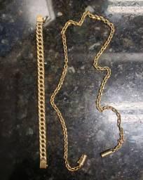 Corrente e pulseira ouro 18k