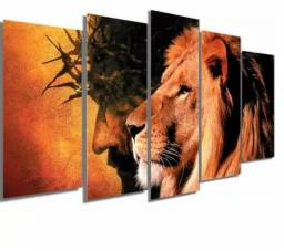 Quadro Decorativo Leão de Judá e Jesus Bíblico Grande