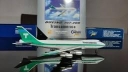Miniatura de avião B.747-400 Transamerica  Escala 1.400 Gemini Jets