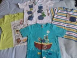 Lote Camisas Alphabeto  e C&A - 2 anos forma bem grande