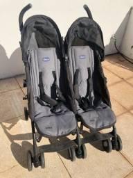 Carrinho de Bebê Gemeos Duplo Fisher Price Preto