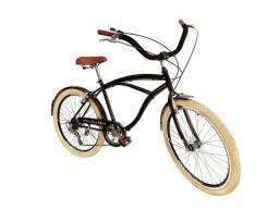 Bicicleta aro 26 caiçara 6 marchas pneus creme nova