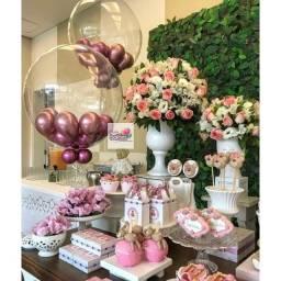 Balões bubble transparente e rose gold