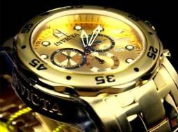 Relógio Invicta Pro Diver 0074 Ouro 18K Dourado Original 1 Ano Garantia